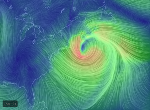Nor'easter winds, March 26, 2014. Image courtesy earth.nullschool.net